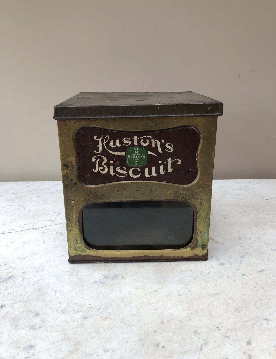 Large Early 20thC Shops Counter Top Advertising Jar - Hustons Biscuits