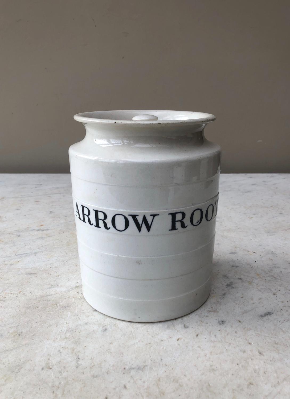 Rare Late 19thC Copeland White Ironstone Kitchen Jar - Arrow Root