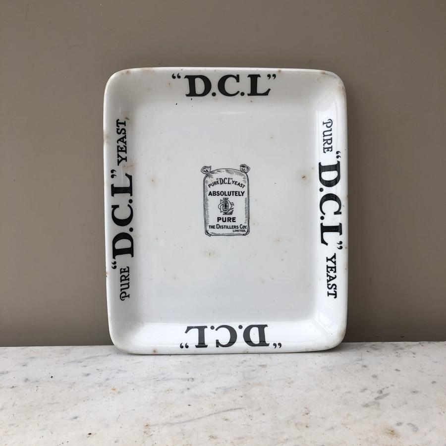 Genuine Edwardian White Ironstone Grocers Advertising Plate -DCL Yeast