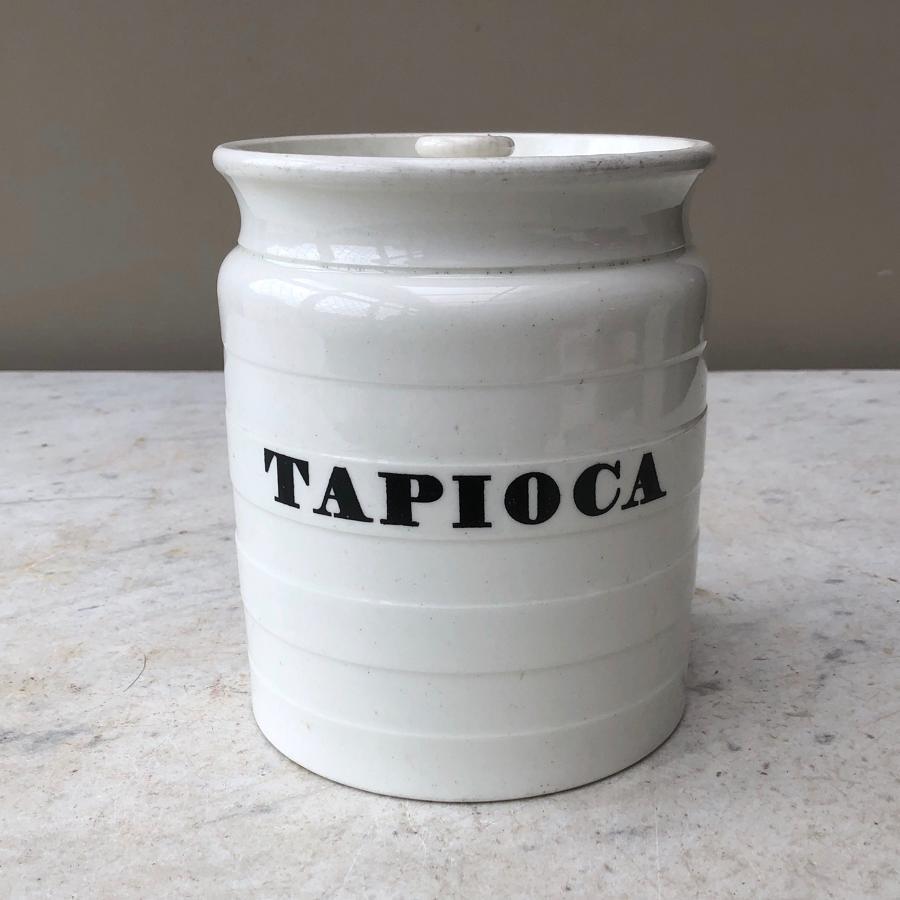 Large Victorian White Banded Kitchen Storage Jar - Tapioca