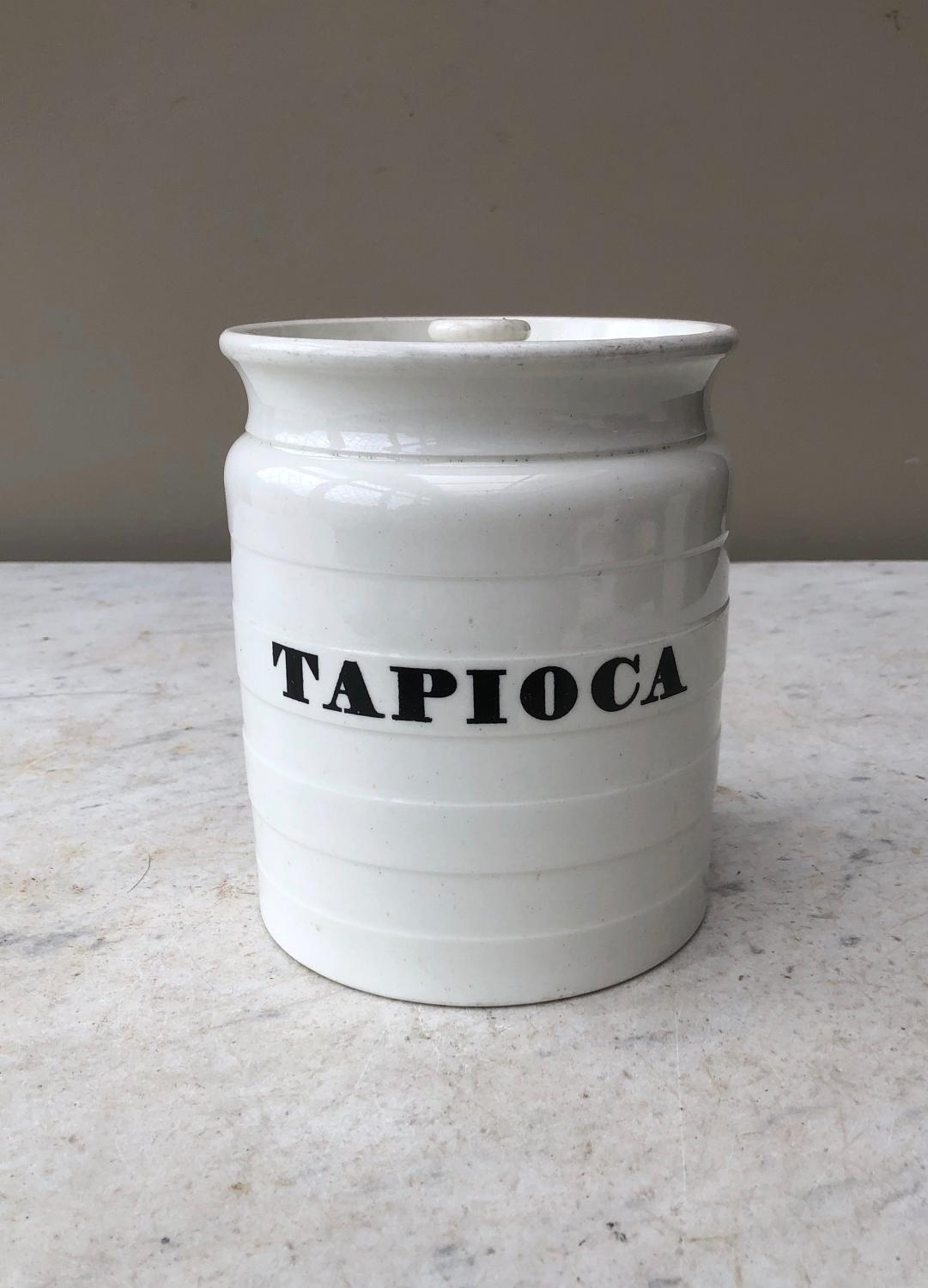 Large Victorian White Banded Kitchen Storage Jar - Tapioca