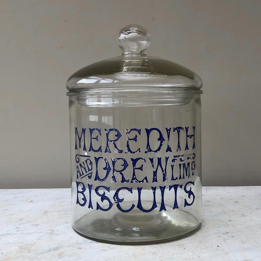 Rarer Design Large Edwardian Advertising Jar -Meredith & Drew Biscuits