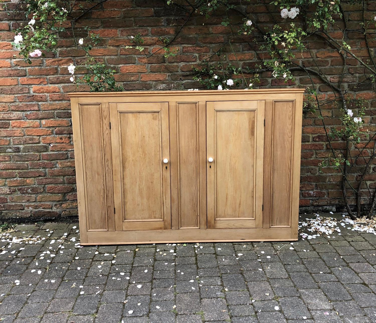 Large but Narrow Victorian Pine Shelved Cupboard with Panelled Ends