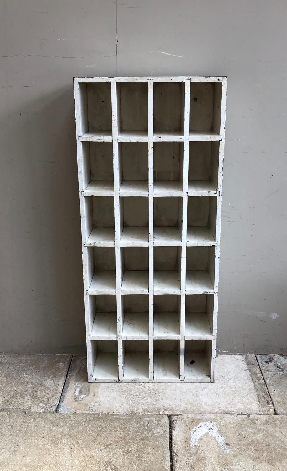 Early 20thC Pine Set of 24 Pigeon Holes - Perfect for Spice Bottles