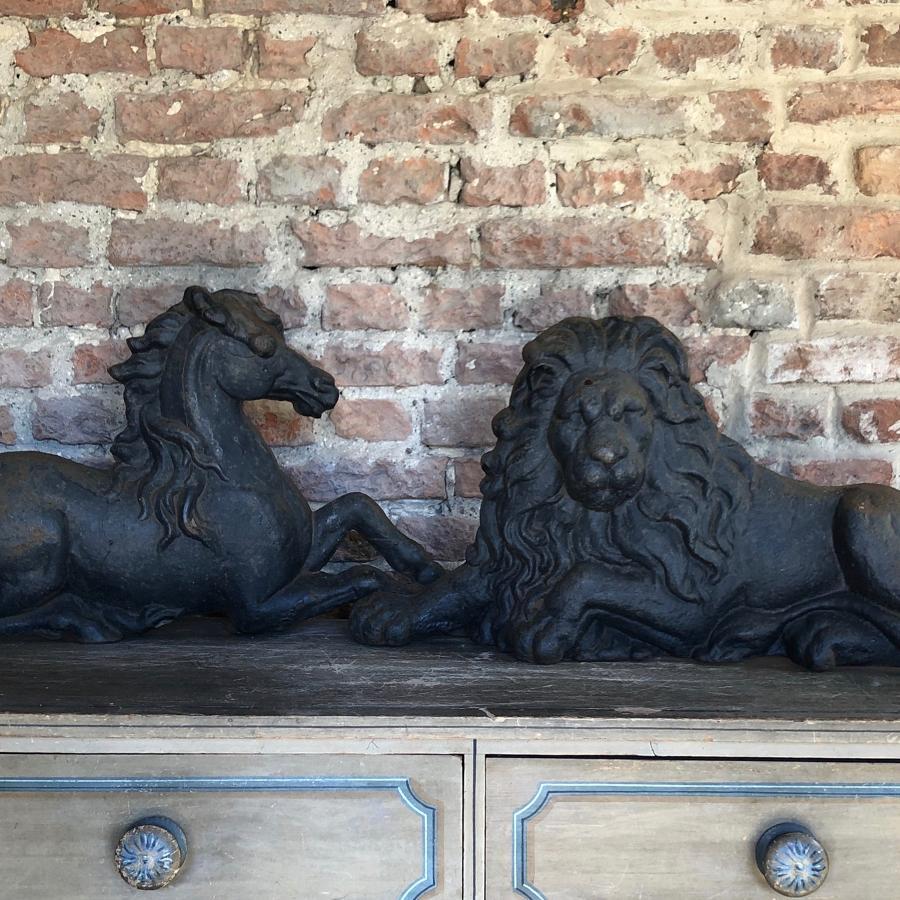 Victorian Large Cast Iron Lion - With Unicorn