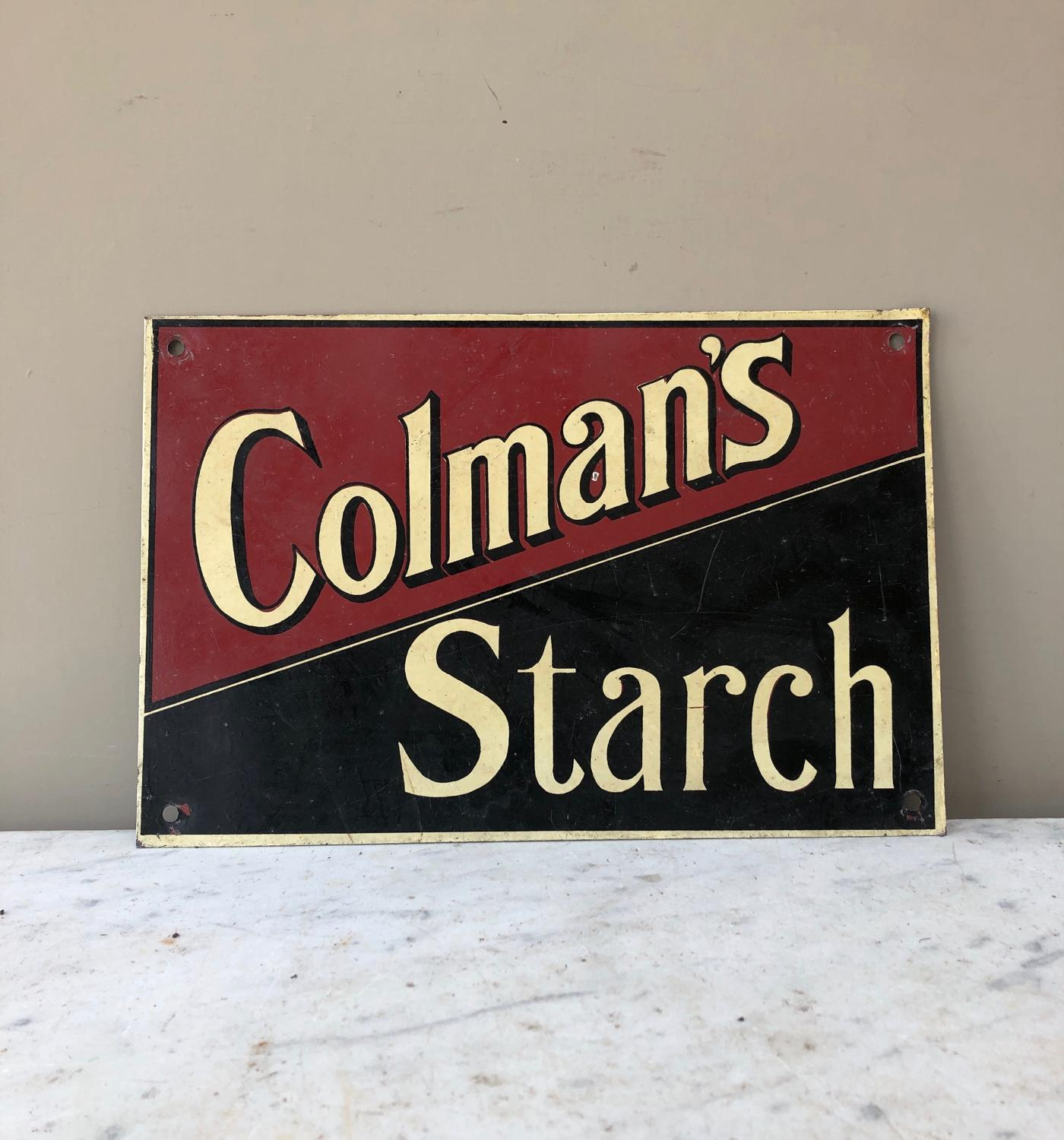 Early 20th Century Painted Metal Advertising Sign - Colmans Starch
