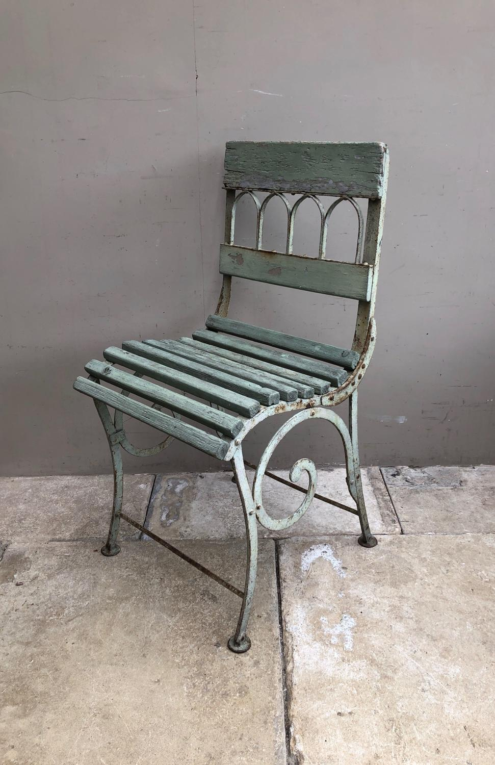 Victorian Cast Iron and Wooden Garden Chair - Original Paint.