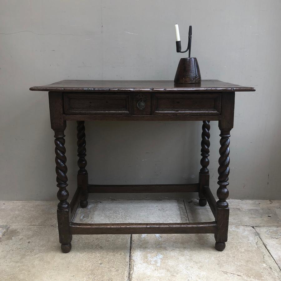 17th Century Oak Side Table with Single Drawer