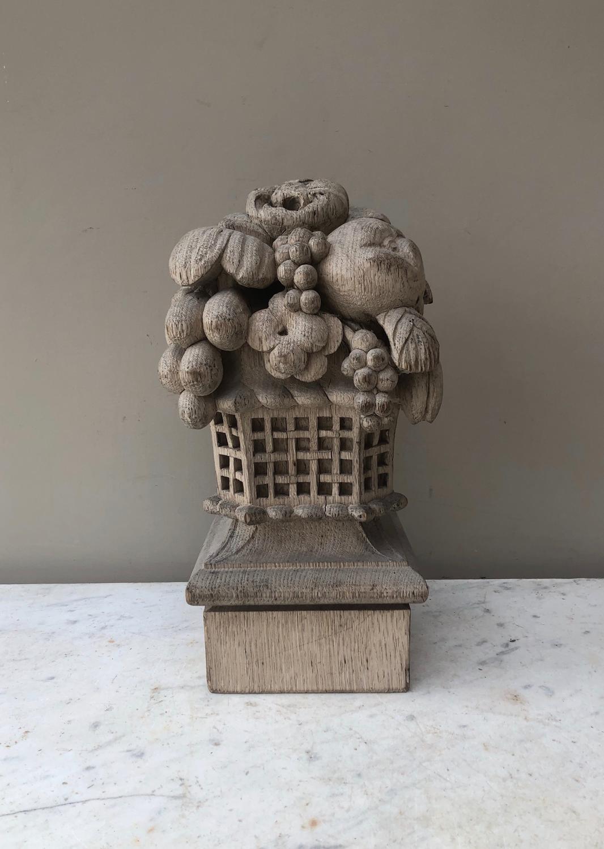 Victorian Hand Carved Bleached Oak Floral Carving - Banister