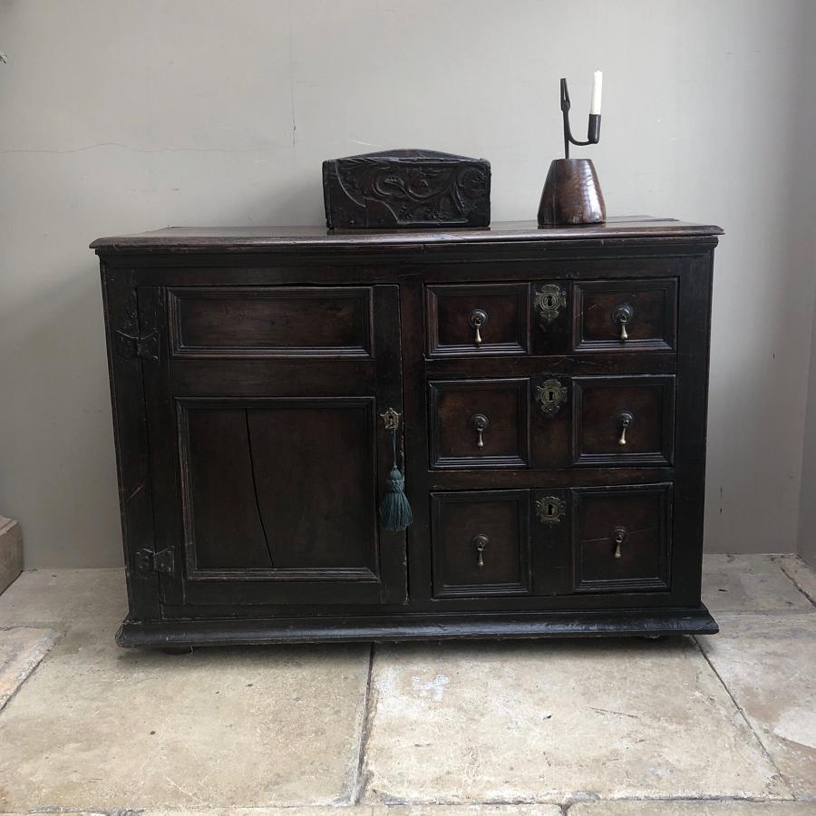 17th Century Oak Sideboard - Three Drawers & Cupboard