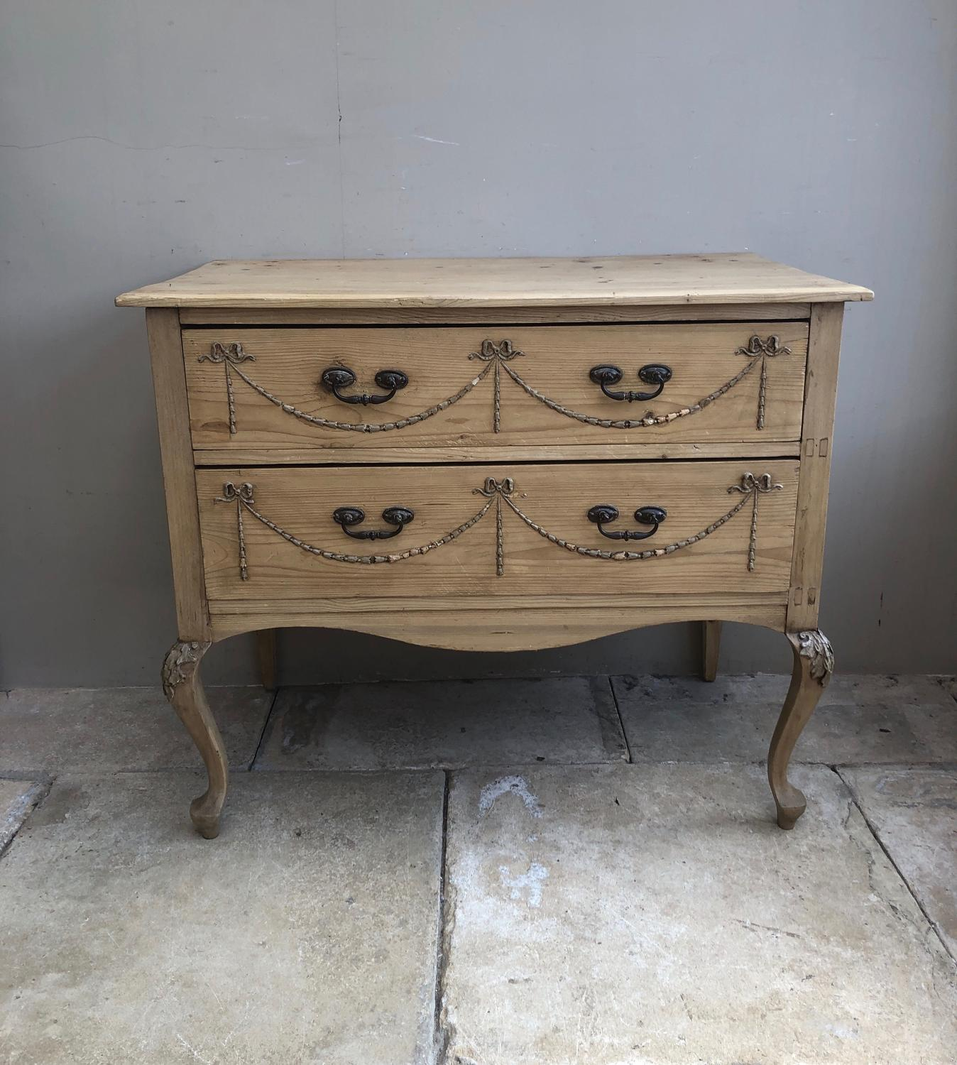 Early 20thC Pine Chest - Side Table with Two Drawers. Swags & Bows