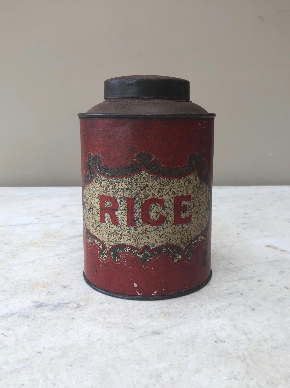 Edwardian Toleware Kitchen Storage Jar with Original Lid - Rice