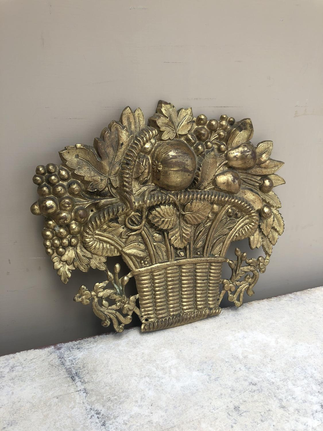 Victorian Pressed Brass Basket of Fruit - Holes to Wall Hang