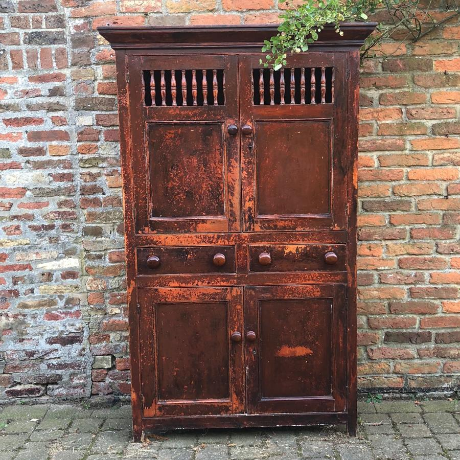 C1830 Welsh Pine Food and Cheese Cupboard - Fantastic Original Paint