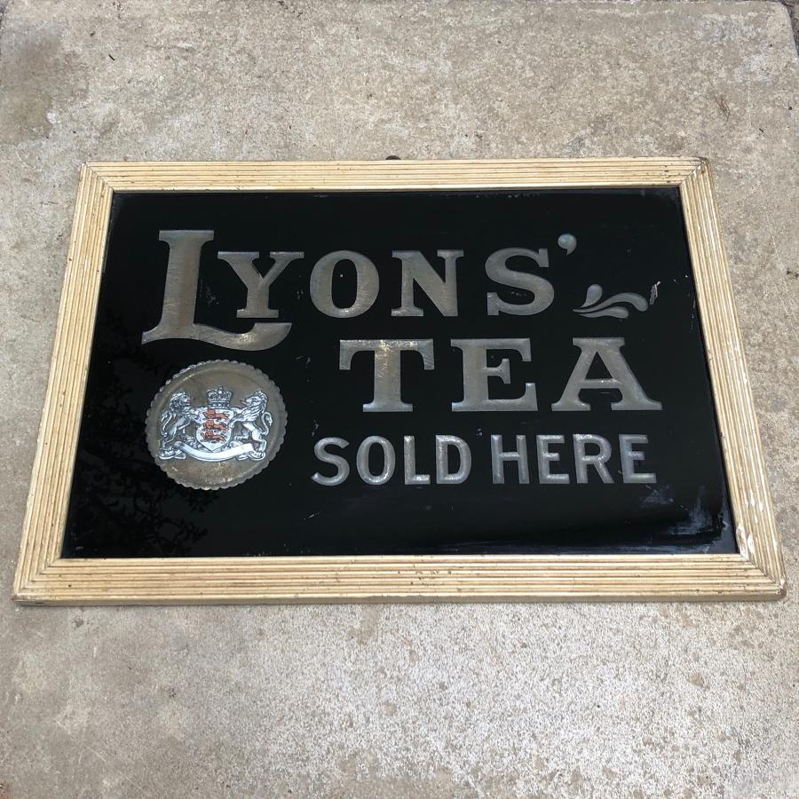 Edwardian Shops Glass Advertising Sign - Lyons Tea Sold Here