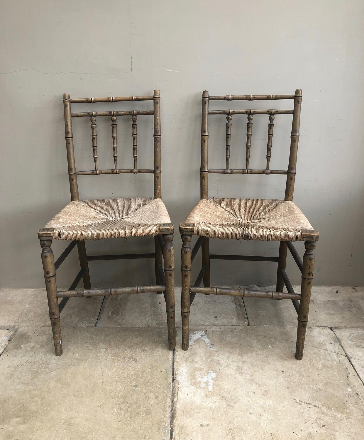 Matched Pair of Early Victorian Painted Pine Rush Seat Chairs
