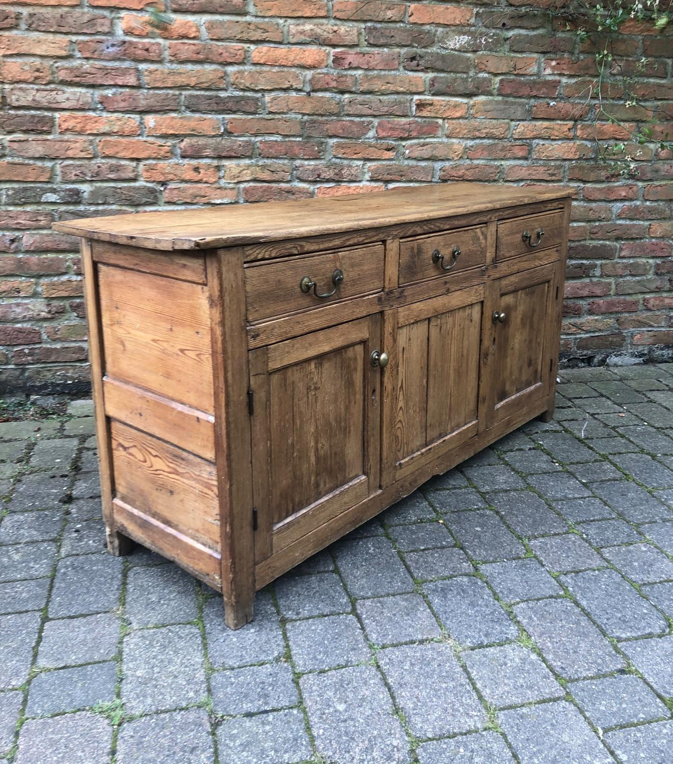 Georgian Pine Dresser Base or Sideboard with Panelled Sides.