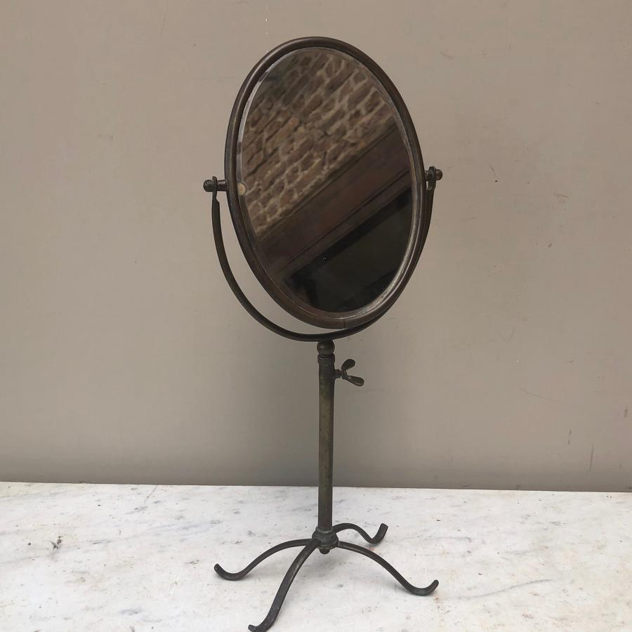1920s Brass Travelling Vanity Mirror on Tripod Stand