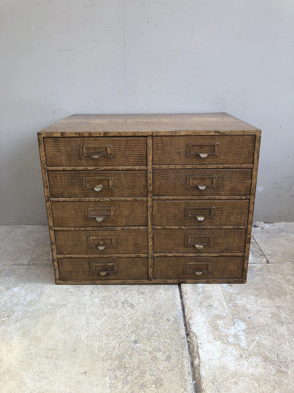 Early 20th Century Metal Bank of 10 Drawers - Fantastic Original Paint