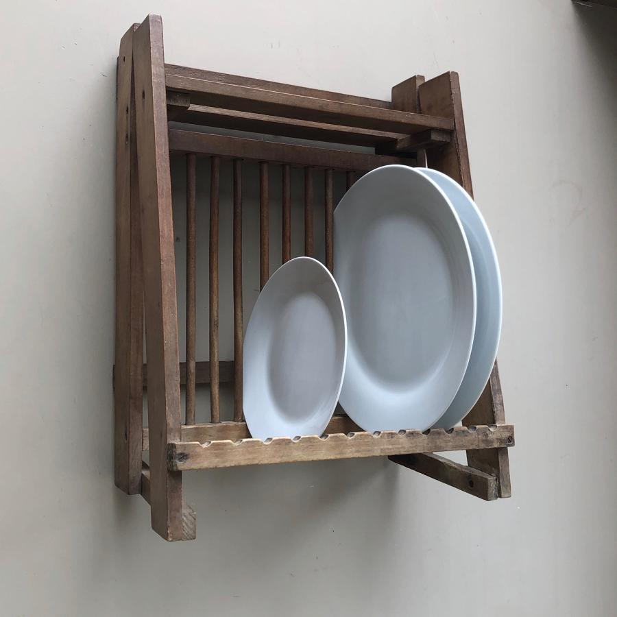 Early 20th Century Pine Plate Rack with Top Shelf