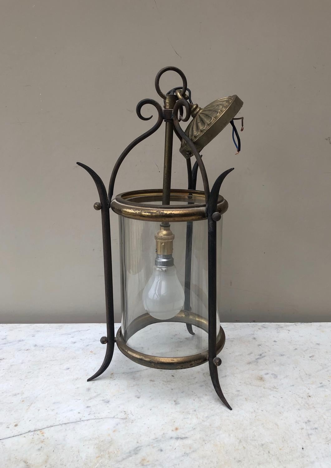 Early 20th Century Iron Lantern - Fully Wired - Ready to Hang