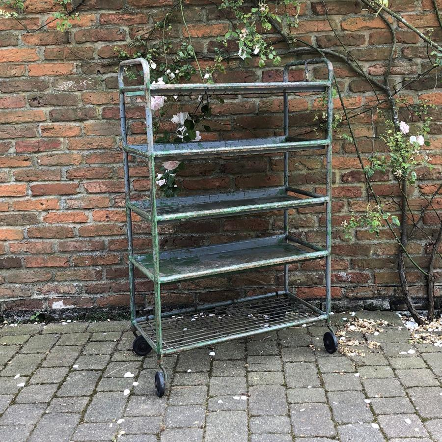 Mid Century Metal Trolley- Shelves on Castors. Original Paint.