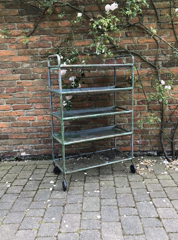 Mid Century Metal Trolley- Shelves on Castors. Original Paint.