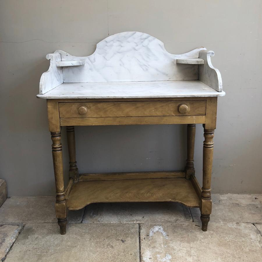 Victorian Pine Washstand or Side Table in Wonderful Original Paint.