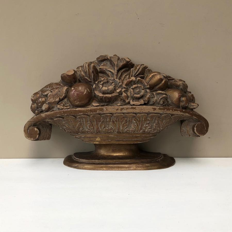 Large Victorian Carved Architectural Urn with Flowers
