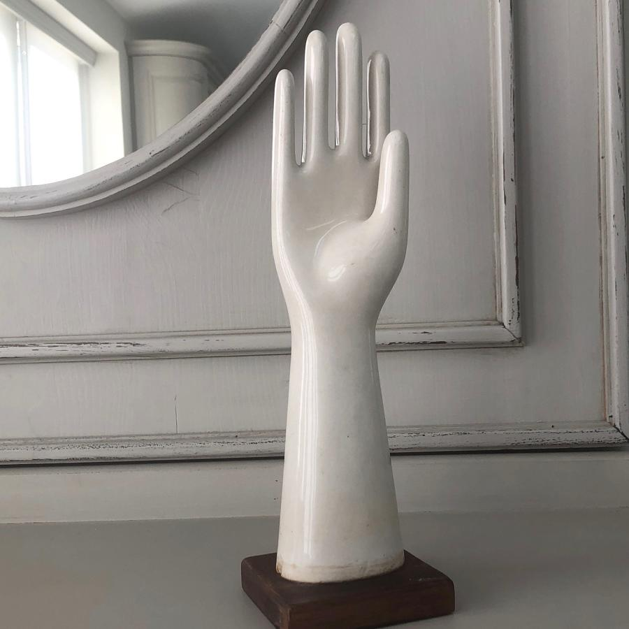 Mid Century White Ironstone Mounted Glove Mould
