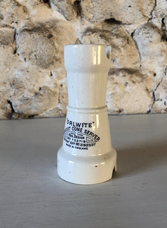 Rare Orlwite White Ironstone Biscuit Cone Server