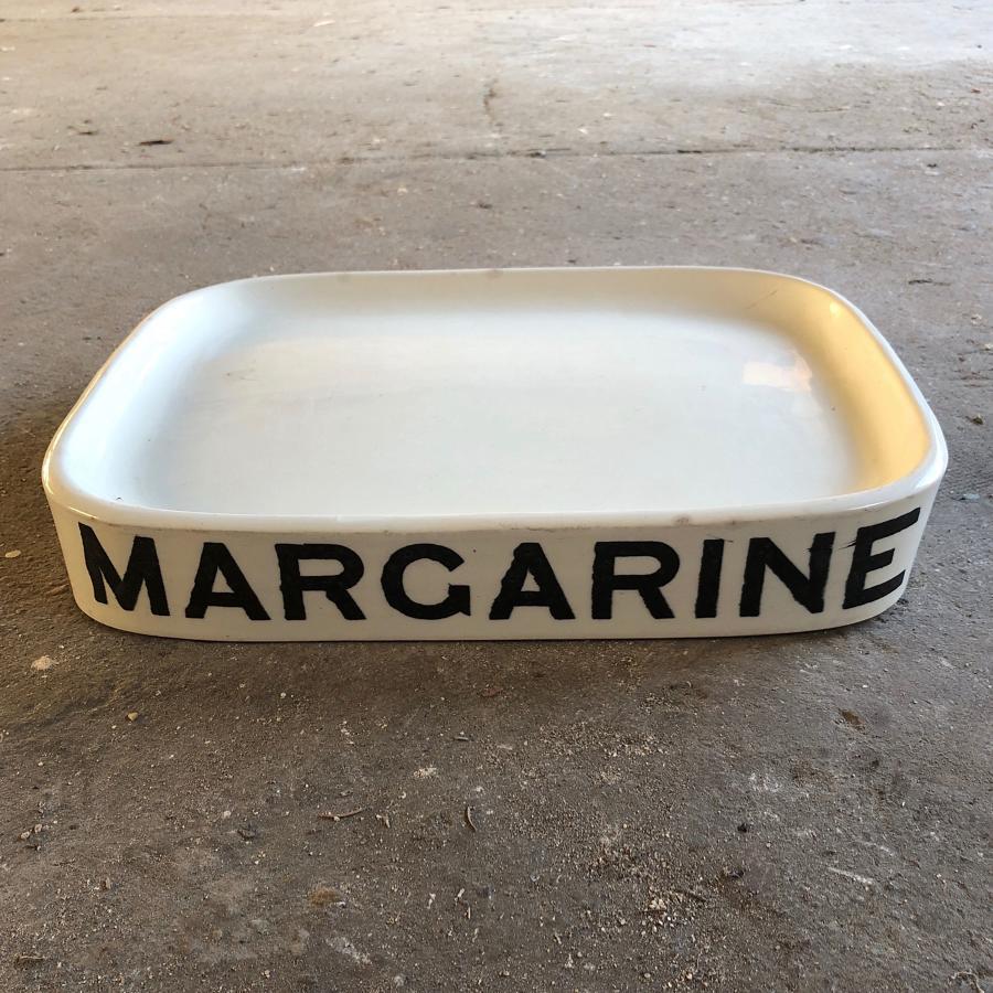 Edwardian White Ironstone Grocers Slab - Margarine - Wedgwood