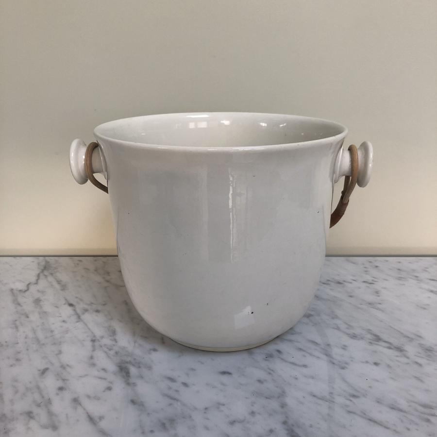 Edwardian White Ironstone Bucket - Great Ice Bucket Removable Handle