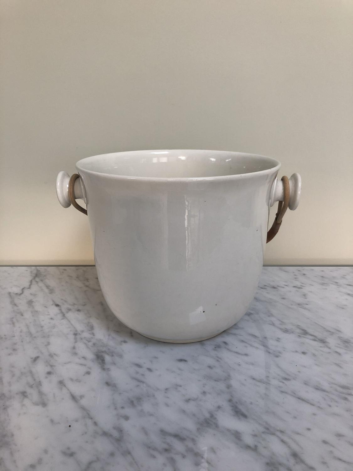 Edwardian White Ironstone Bucket - Great Ice Bucket Removable Handle