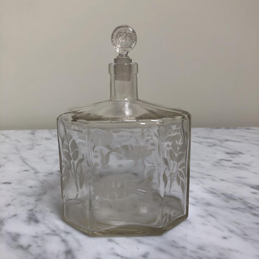 Antique Etched Glass Bottle - Fish to Both Sides - Perfect Bath Oils