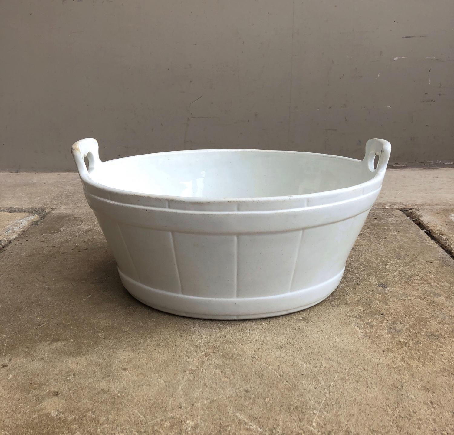 Edwardian White Ironstone Butter Bowl with Side Carrying Handles