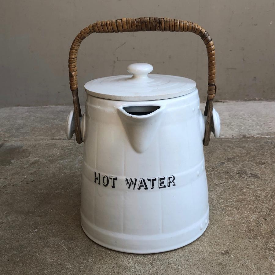 Edwardian White Ironstone Hot Water Jug with Carrying Handle