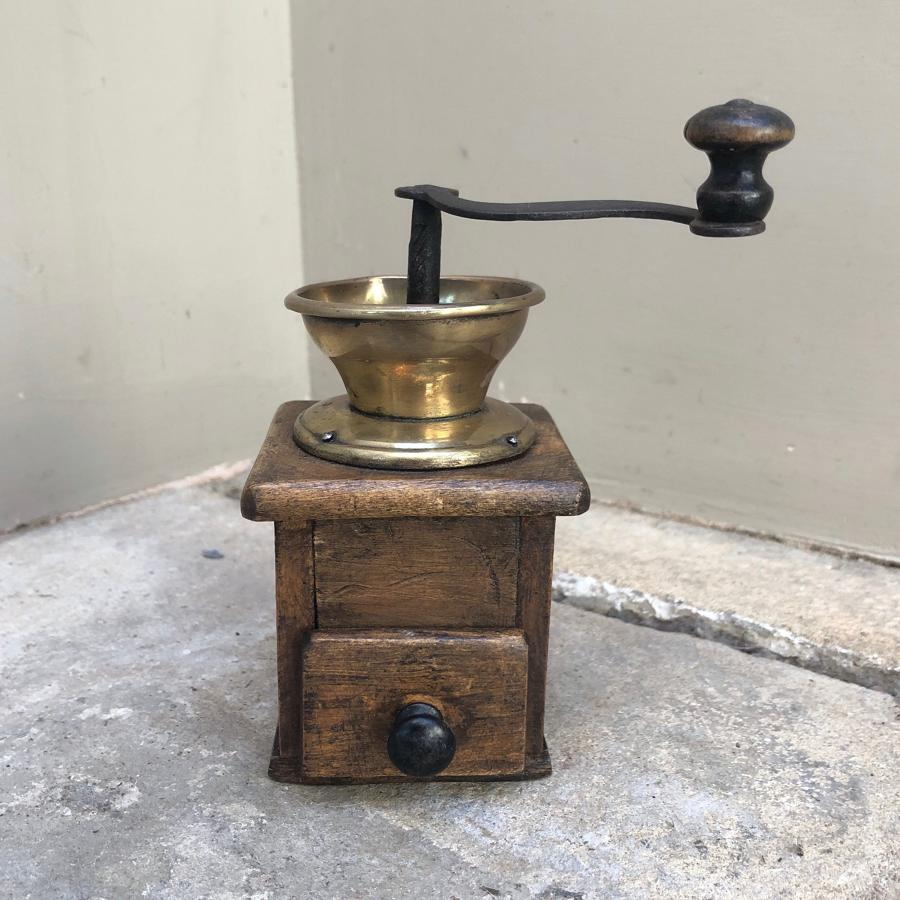 Early 20th Century Treen & Brass Pepper or Spice Grinder - Working