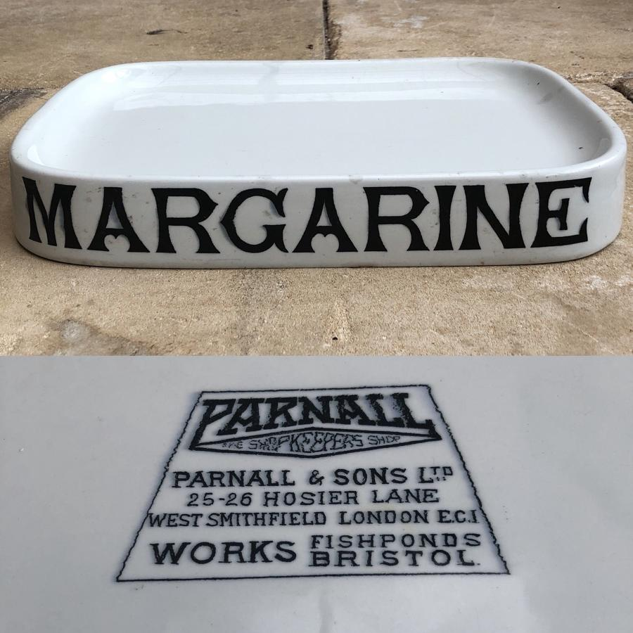 Early 20thC Grocer Shop's White Ironstone Margarine Slab-Parnall Stamp