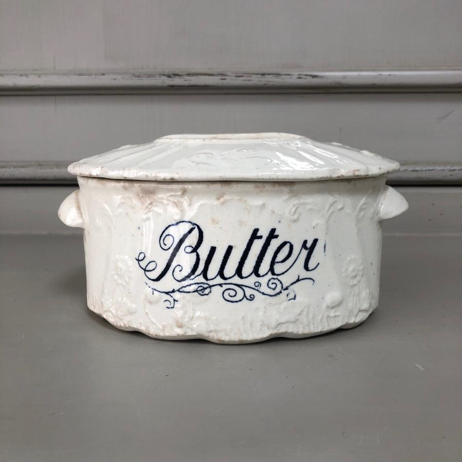 Victorian White Ironstone Butter Dish with Original Lid