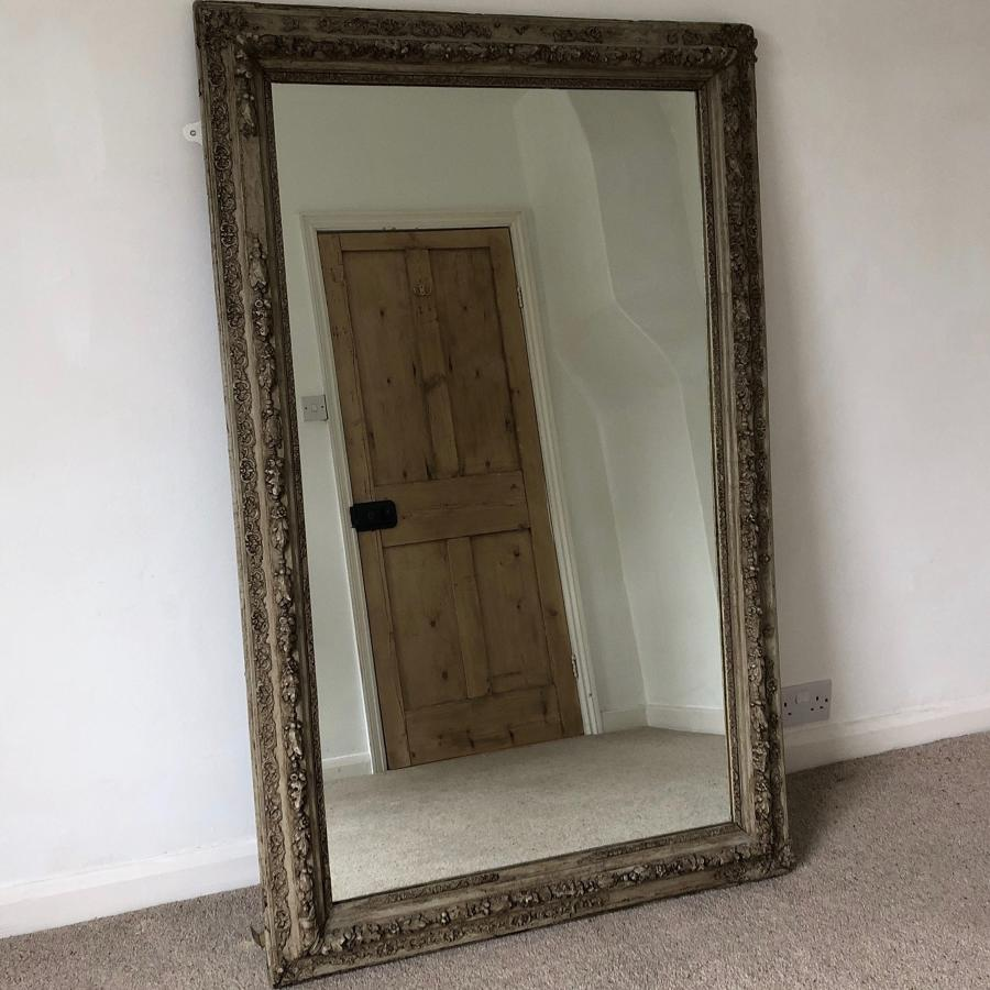 Large Ornate Victorian Mirror in Original Paint - Replaced Glass