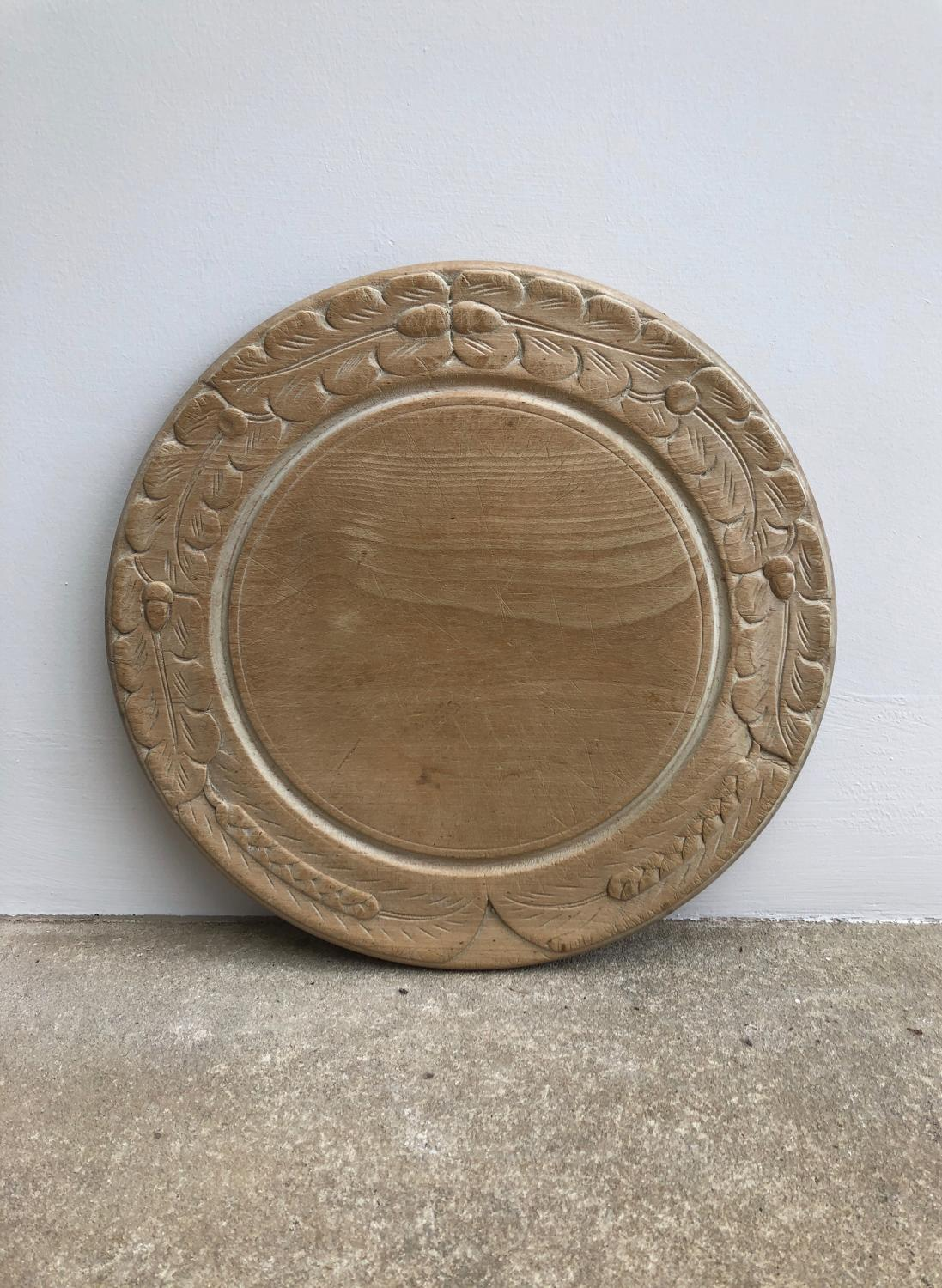 Early 20th Century Carved Bread Board. Acorns and Wheat