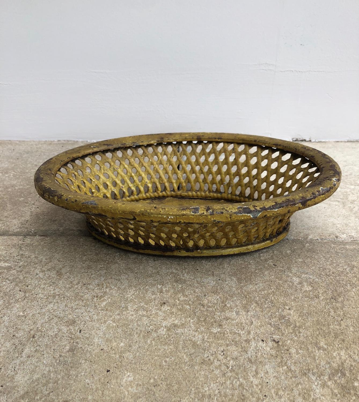 Georgian Toleware Woven Metal Basket - Original Paint