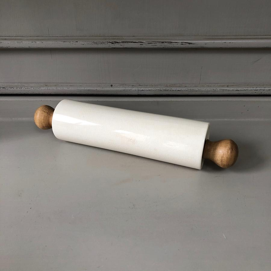 Early 20thCentury White Ironstone Pastry Rolling Pin