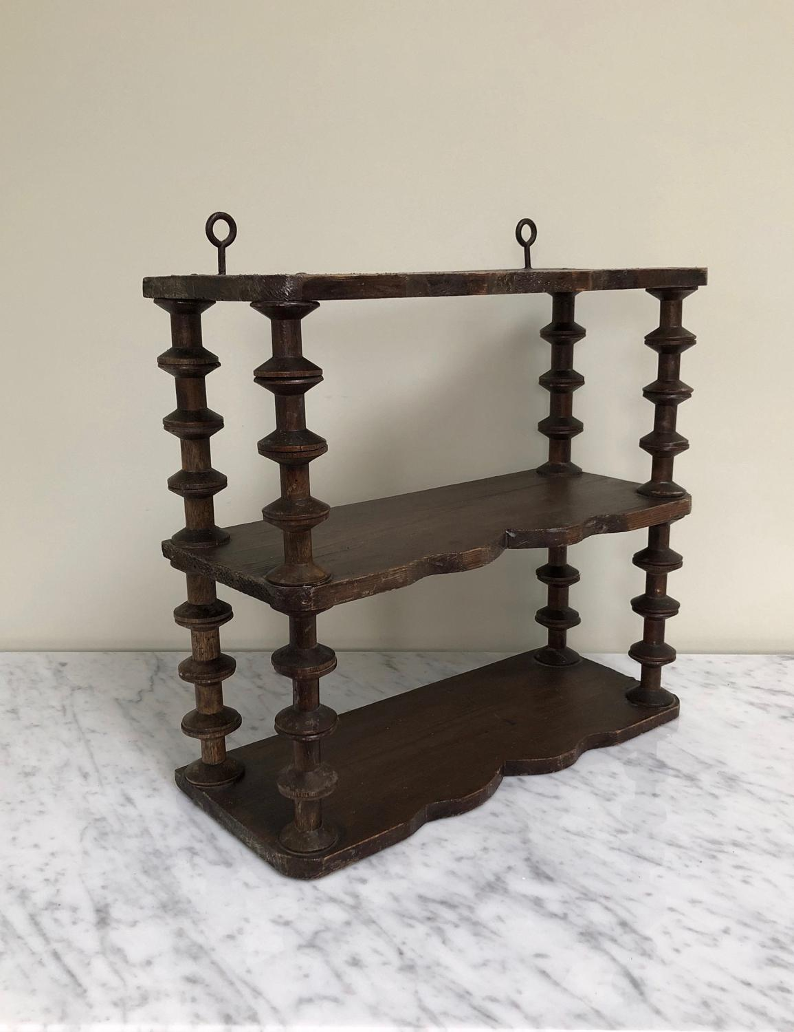Late Victorian Pine Shaped Cotton Reel Shelves