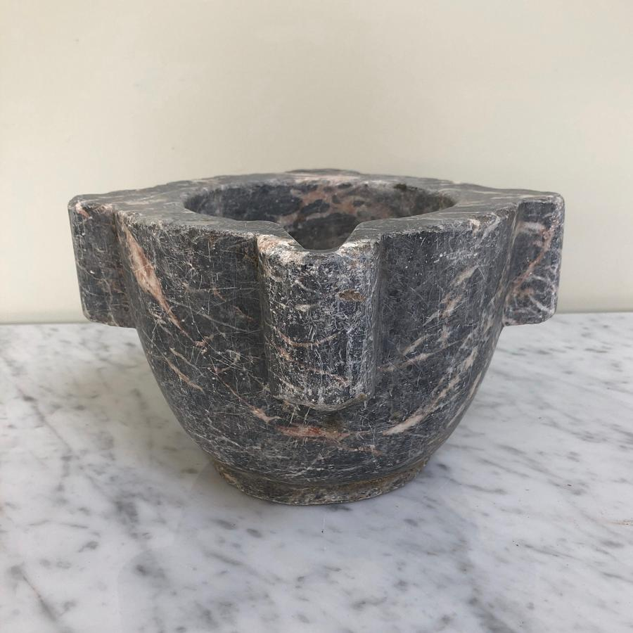 Victorian Solid Grey & Pink Marble Mortar.
