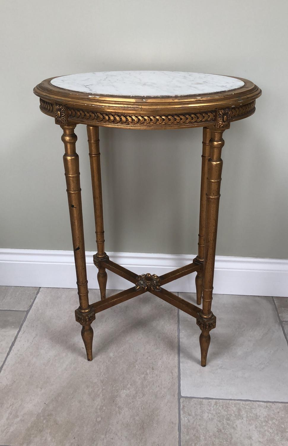Early 20thC Giltwood Oval Side Table with White Marble Top