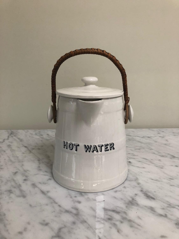Edwardian White Ironstone Hot Water Jug with Original Handle