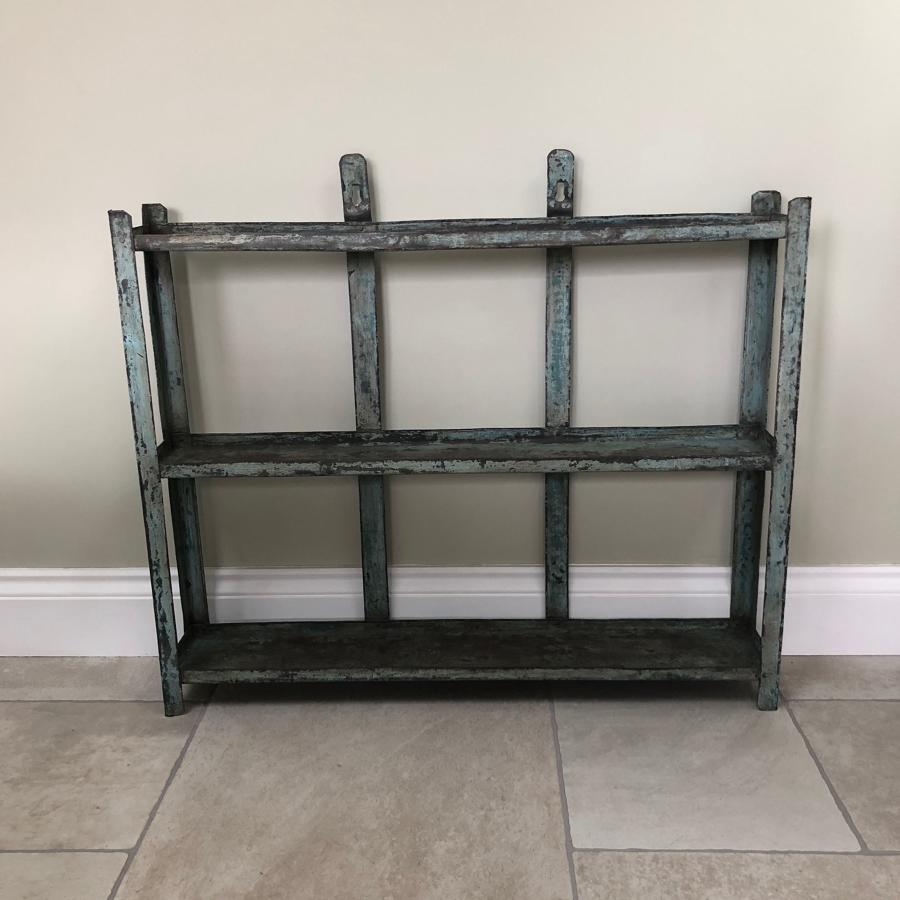 Mid Century Metal Wall Shelves in Original Paint