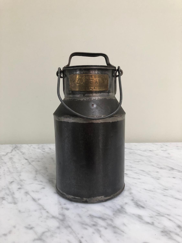 Early 20thC Half Gallon Milk Churn - Brass Plaque Pure Milk Yew Farm